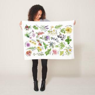 Plants and Herbs Alphabet Fleece Blanket