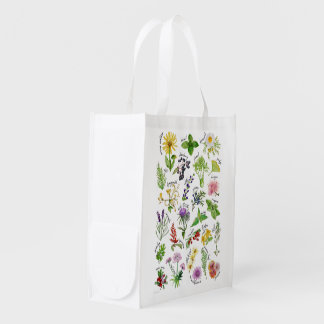 Plants and Herbs Alphabet Reusable Grocery Bag