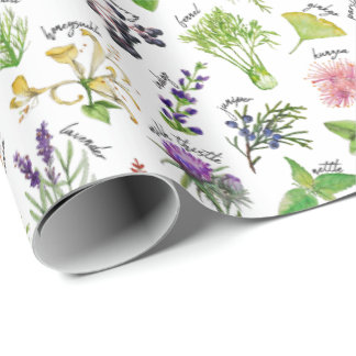 Plants and Herbs Alphabet Wrapping Paper