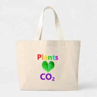 Plants Love CO2 Large Tote Bag