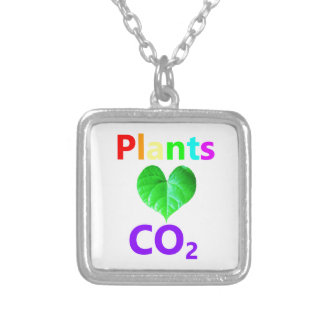 Plants Love CO2 Silver Plated Necklace
