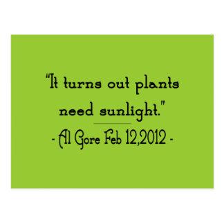 Plants Need Sunlight Postcard