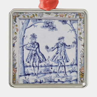 Plaque depicting a scene from 'The Magic Flute' Silver-Colored Square Decoration