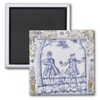 Plaque depicting a scene from 'The Magic Flute' Square Magnet