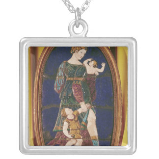 Plaque depicting Charity, Limousin, 1559 Silver Plated Necklace