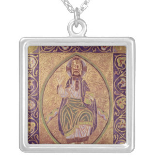 Plaque depicting Christ blessing Silver Plated Necklace