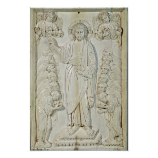 Plaque depicting Christ blessing the Apostles Poster