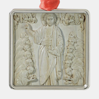 Plaque depicting Christ blessing the Apostles Silver-Colored Square Decoration