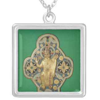 Plaque depicting God blessing Silver Plated Necklace