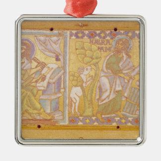 Plaque depicting St. Mark Silver-Colored Square Decoration