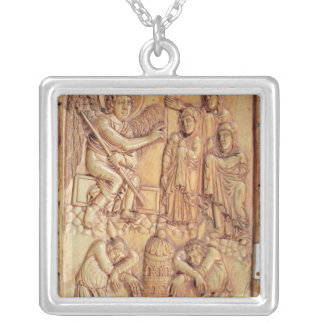 Plaque depicting the Holy Women at the Tomb Silver Plated Necklace
