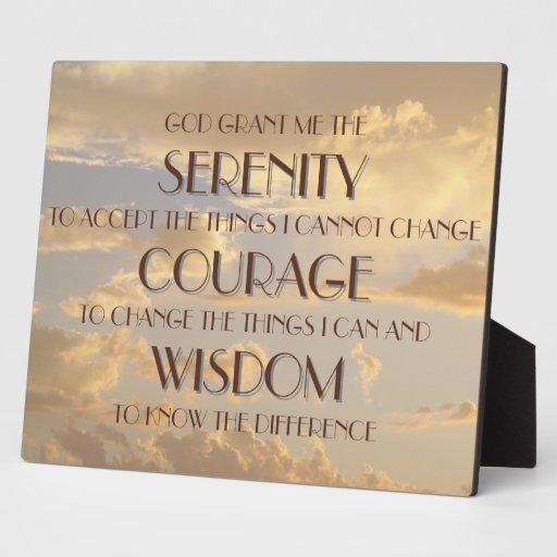 Plaque - Serenity Prayer Glowing Sky