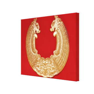 Plaque with two dragons and a Tao-tie mask Canvas Print