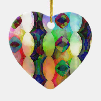 Plasma Vertical Diamonds and Ovals Ceramic Heart Decoration