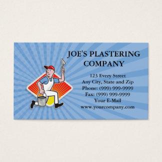 Plaster Masonry Worker Cartoon Business Card