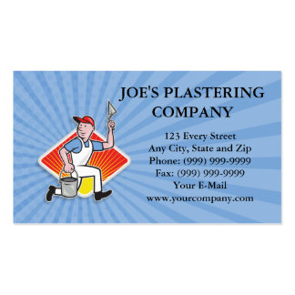 Plaster Masonry Worker Cartoon Pack Of Standard Business Cards