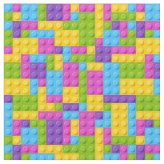 Plastic Construction Blocks Pattern Fabric