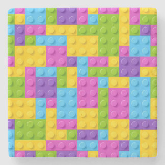 Plastic Construction Blocks Pattern Stone Coaster