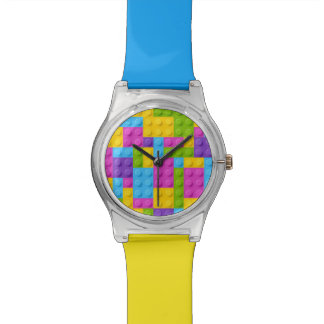 Plastic Construction Blocks Pattern Watch