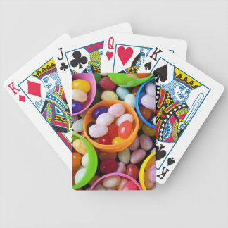 Plastic eggs filled with jelly beans bicycle playing cards