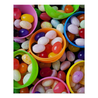 Plastic eggs filled with jelly beans posters