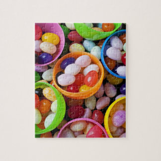 Plastic eggs filled with jelly beans puzzles