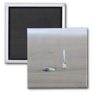plastic fork sticking in sandy beach beside magnet