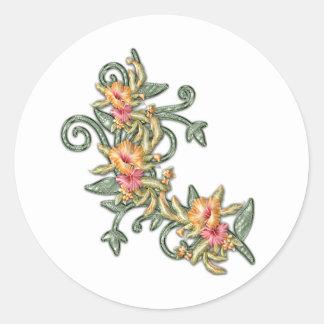 plastic hibiscus classic round sticker