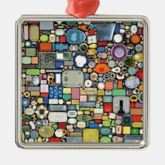 Plastic Magic Elegance Silver-Colored Square Decoration