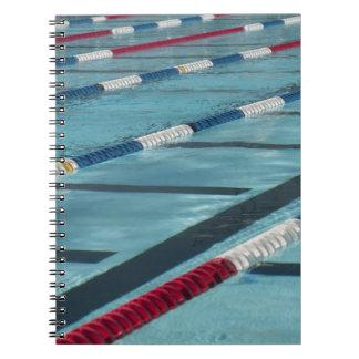 Plastic separators in a swimming pool creating notebook