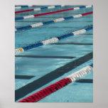 Plastic separators in a swimming pool creating poster