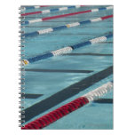 Plastic separators in a swimming pool creating spiral notebook