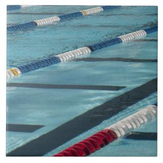 Plastic separators in a swimming pool creating tile