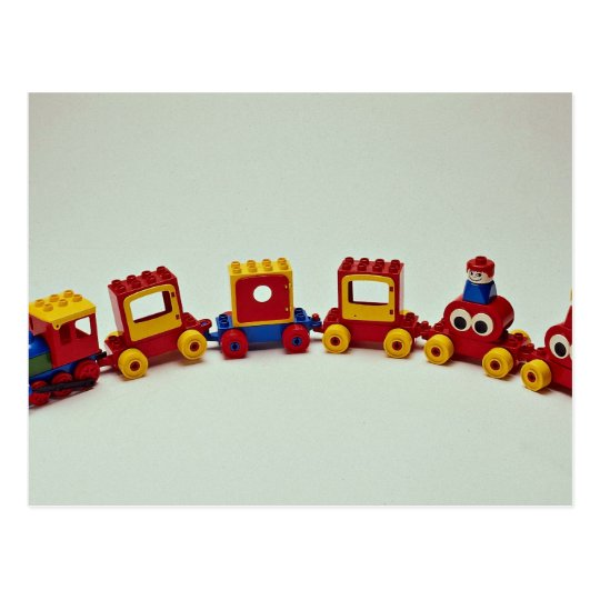 Plastic train set toy for kids postcard