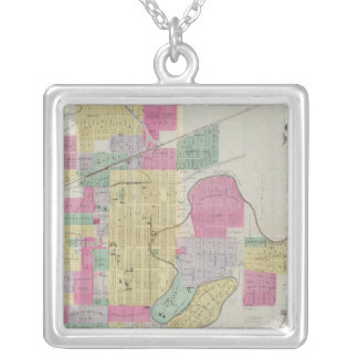 Plat of the City of Salina, Kansas Silver Plated Necklace