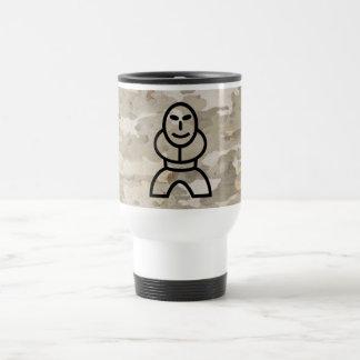 Platan bark texture with cartoon man stainless steel travel mug