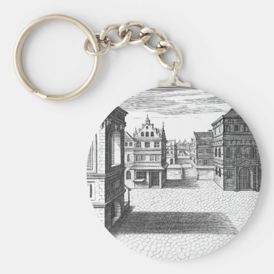 Plate 42 basic round button key ring
