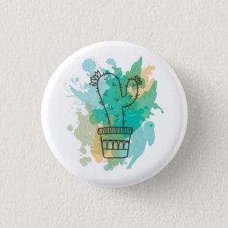 Plate cactus watercolor 3 cm round badge