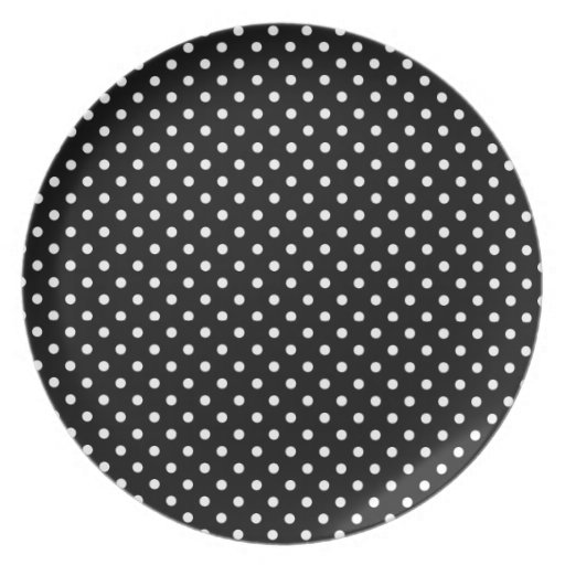 plate, coordinate dots for GOLD PANSY- black /whit