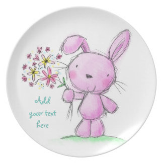 ♥ PLATE ♥ Cute Pink lilac bunny rabbit