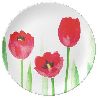Plate De Porcelana Watercolor tulips plate