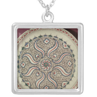 Plate decorated with a flame pattern silver plated necklace