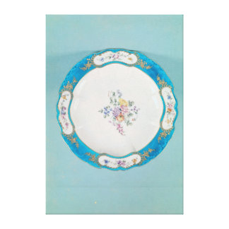 Plate decorated with a floral pattern, Sevres Canvas Print