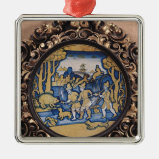 Plate decorated with a hunting scene christmas ornament