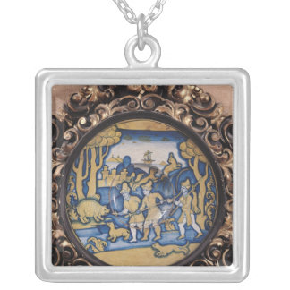 Plate decorated with a hunting scene silver plated necklace
