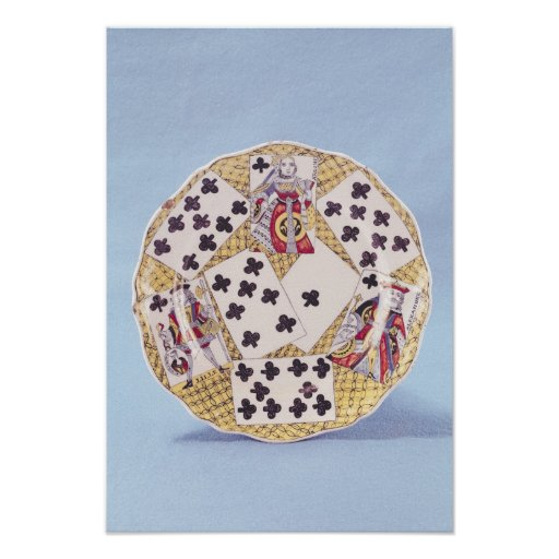 Plate decorated with a trompe l'oeil poster