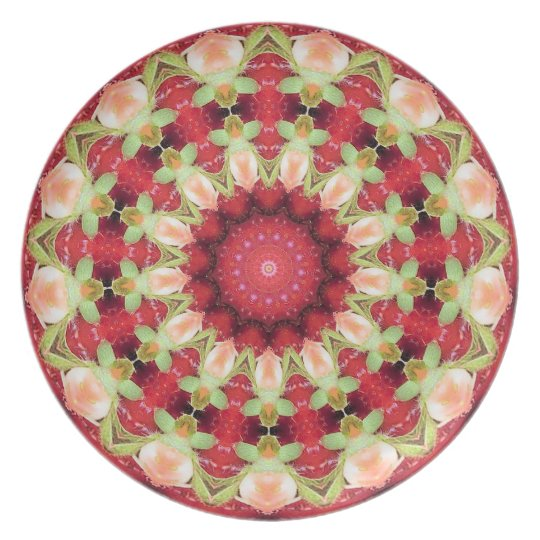 PLATE - Decorative pattern in reds and pinks