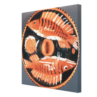 Plate depicting two fish, 350 BC (ceramic) Canvas Print