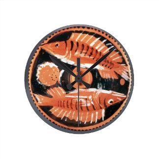 Plate depicting two fish, 350 BC (ceramic) Wallclock