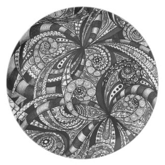 Plate Drawing floral abstract background